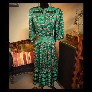 Gorgeous VTG 80s Diane Freis Silk Maxi Dress